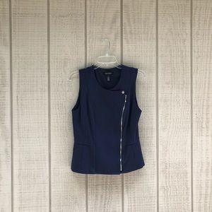 WHBM • midnight blue preppy tailored zipper vest